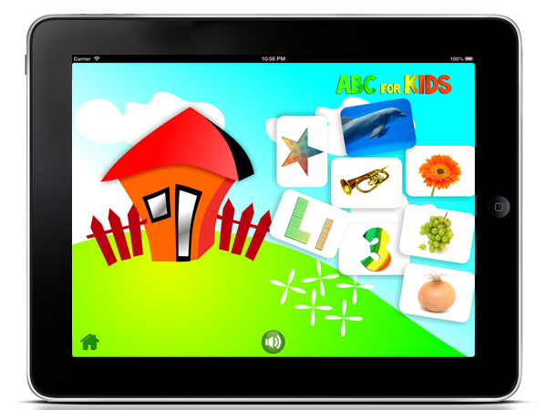 ipad game with shapes, animals, musical instruments, flowers, letters, numbers, fruits, vegetables