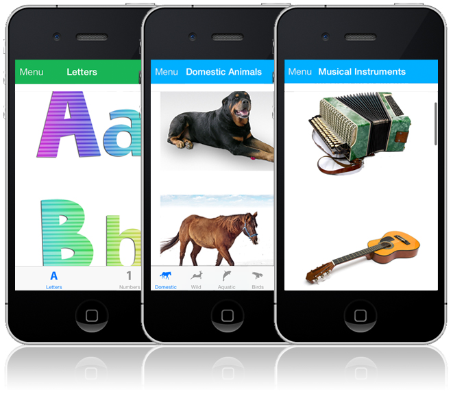 iphone app letters, animals, musical instruments